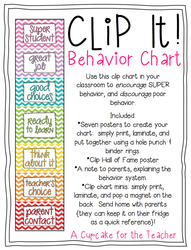 Clip It! Behavior Chart - Free Printable Charts For Teachers