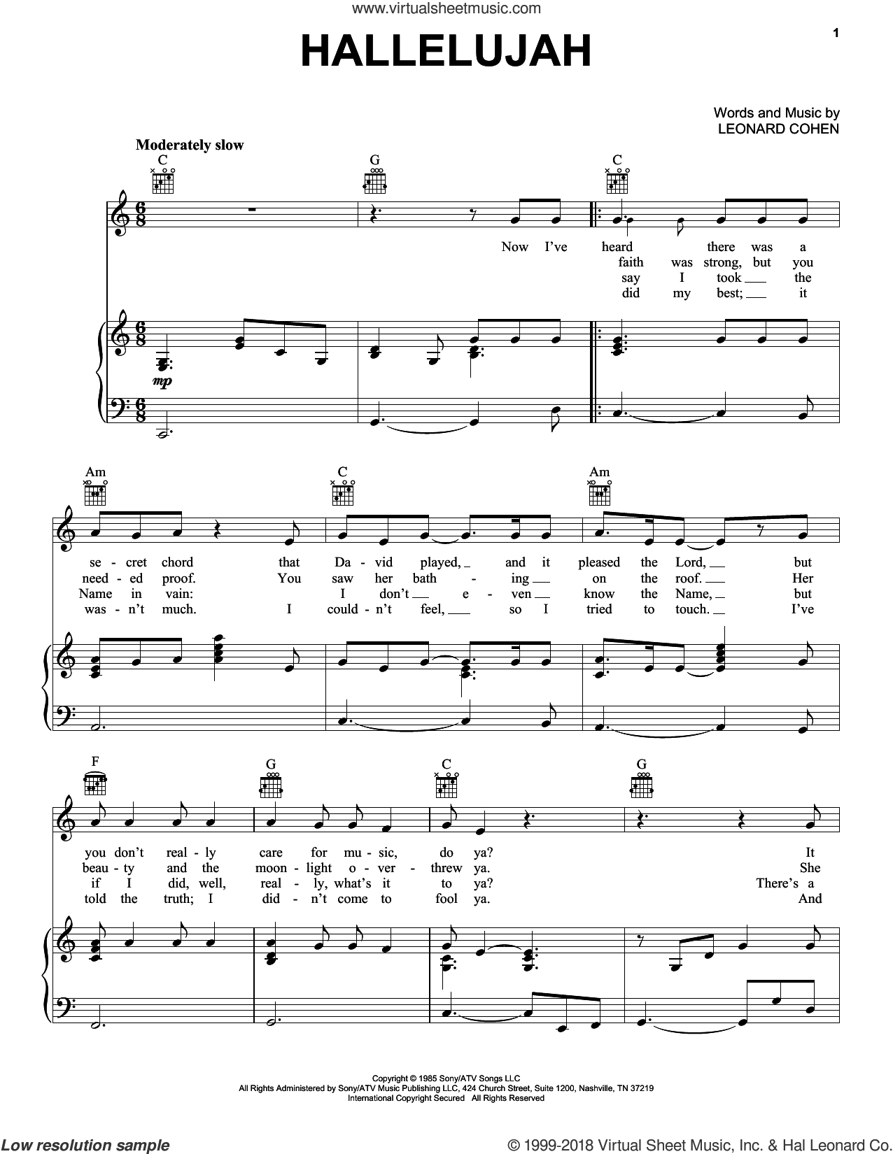 Cohen - Hallelujah Sheet Music For Voice, Piano Or Guitar [Pdf] - Free Printable Piano Sheet Music For Hallelujah By Leonard Cohen