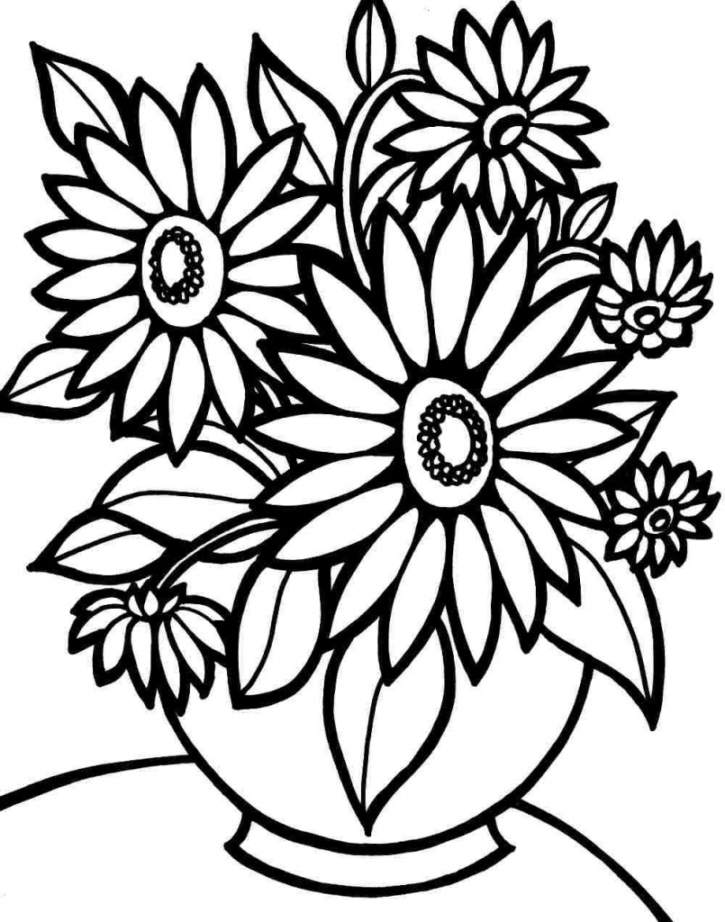 Coloring Pages Ideas: Flower Coloring Pages Printable Free - Free Printable Flower Coloring Pages For Adults