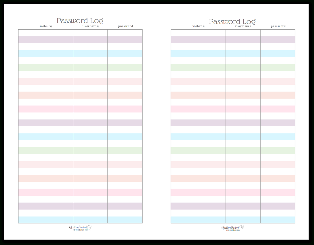 Colourful Address Book And Password Log Printables - Free Printable Address Book Pages
