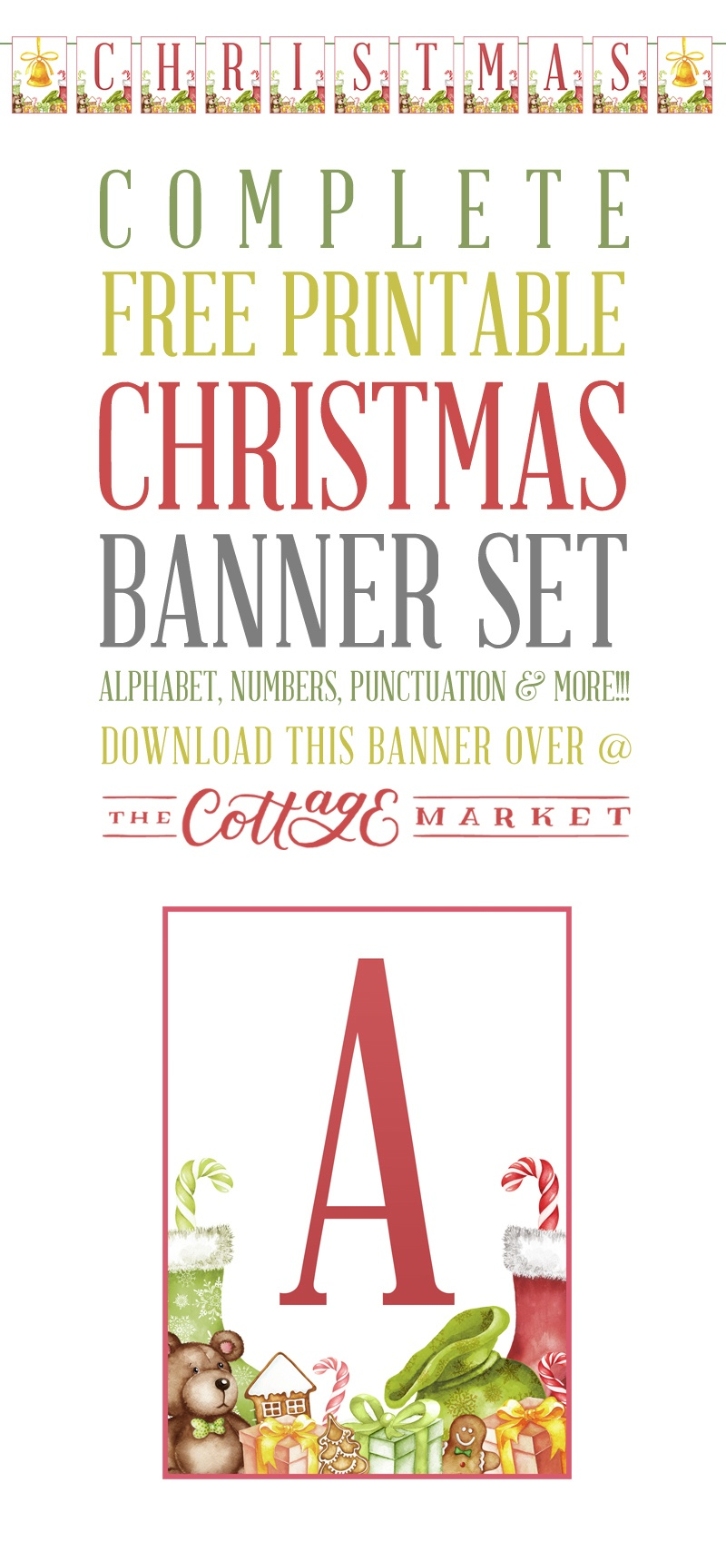 Complete Free Printable Christmas Banner Set - The Cottage Market - Free Printable Christmas Alphabet