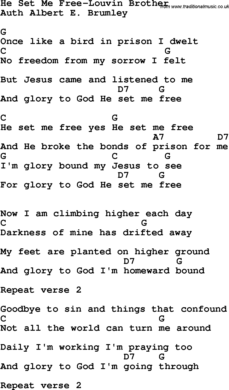 Country, Southern And Bluegrass Gospel Song He Set Me Free-Louvin - Free Printable Gospel Music Lyrics