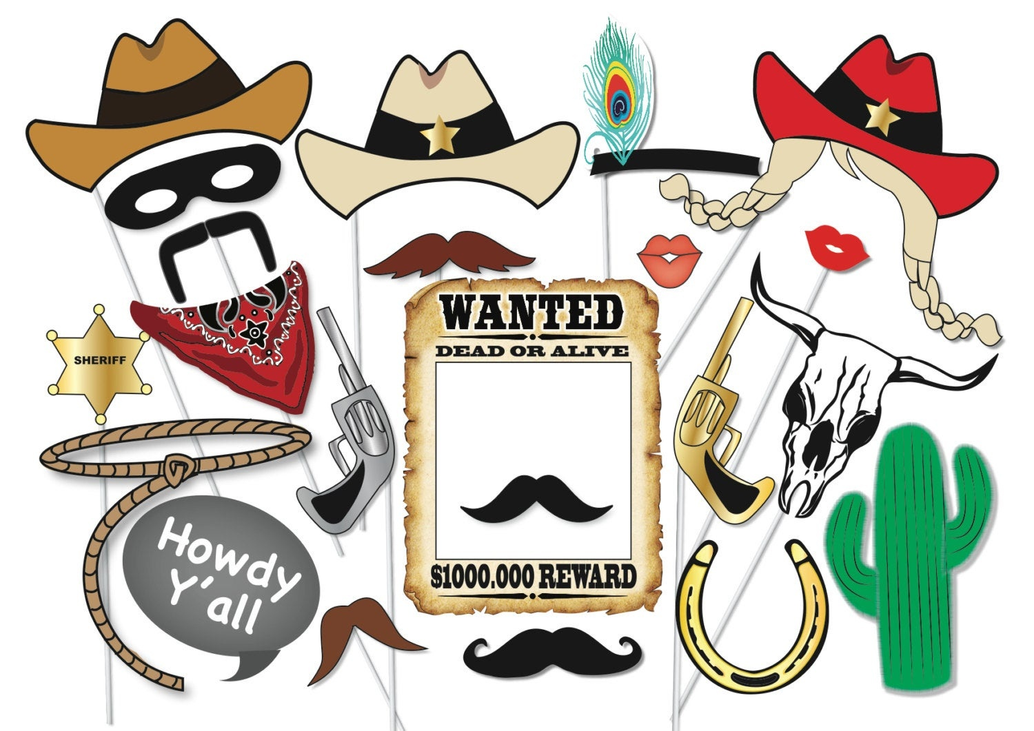 Cowboy Or Cowgirl Photo Booth Party Props Set 25 Piece | Etsy - Free Printable Western Photo Props