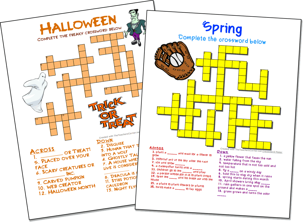 Crossword Puzzle Maker | World Famous From The Teacher's Corner - Puzzle Maker Printable Free
