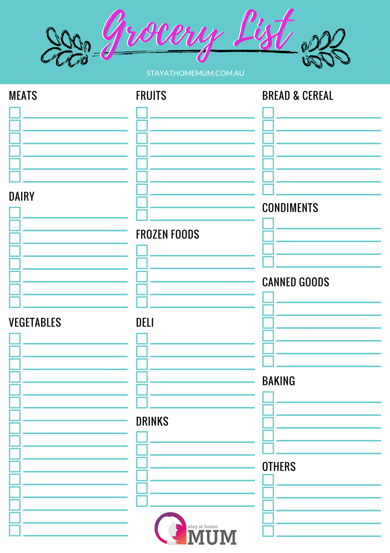 Customisable Grocery Shopping List - A Free Printable - Stay At Home Mum - Free Printable Shopping List