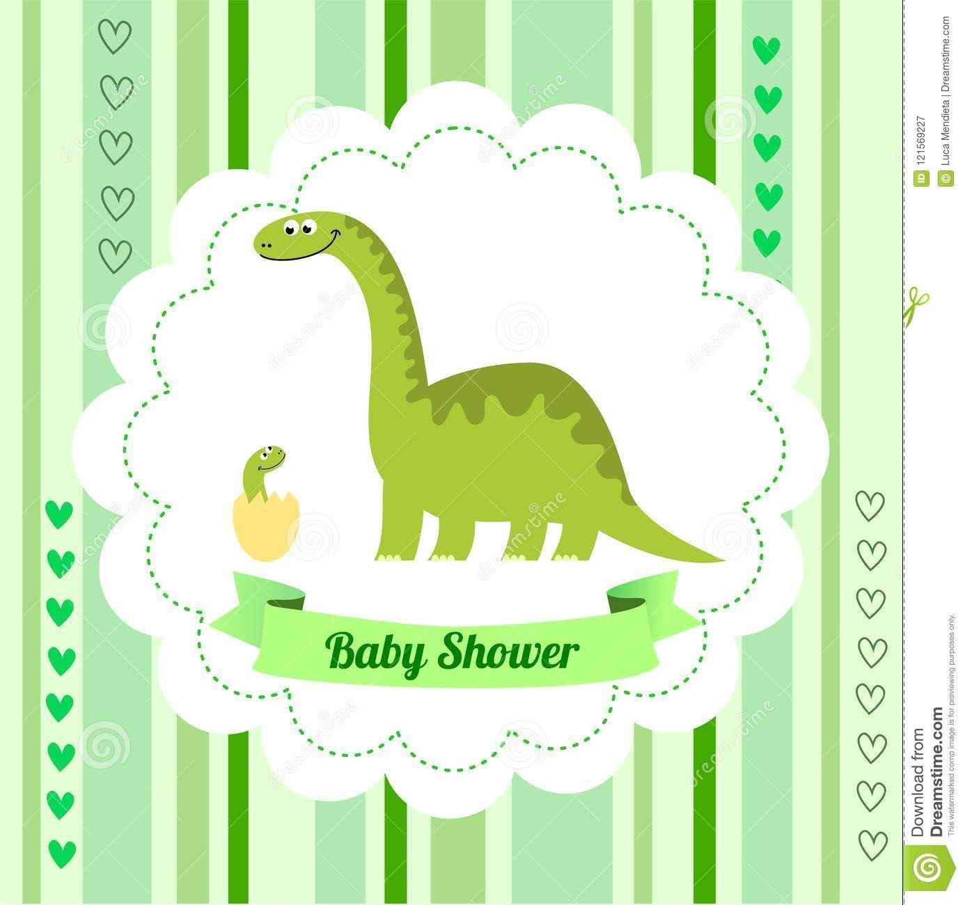 Cute Card Template Of A Baby Shower Invitation With A Dinosaur Stock - Free Printable Dinosaur Baby Shower Invitations