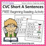 Cvc Short A Sentences   Beginning Reading And Phonemic Awareness   Free Phonics Readers Printable