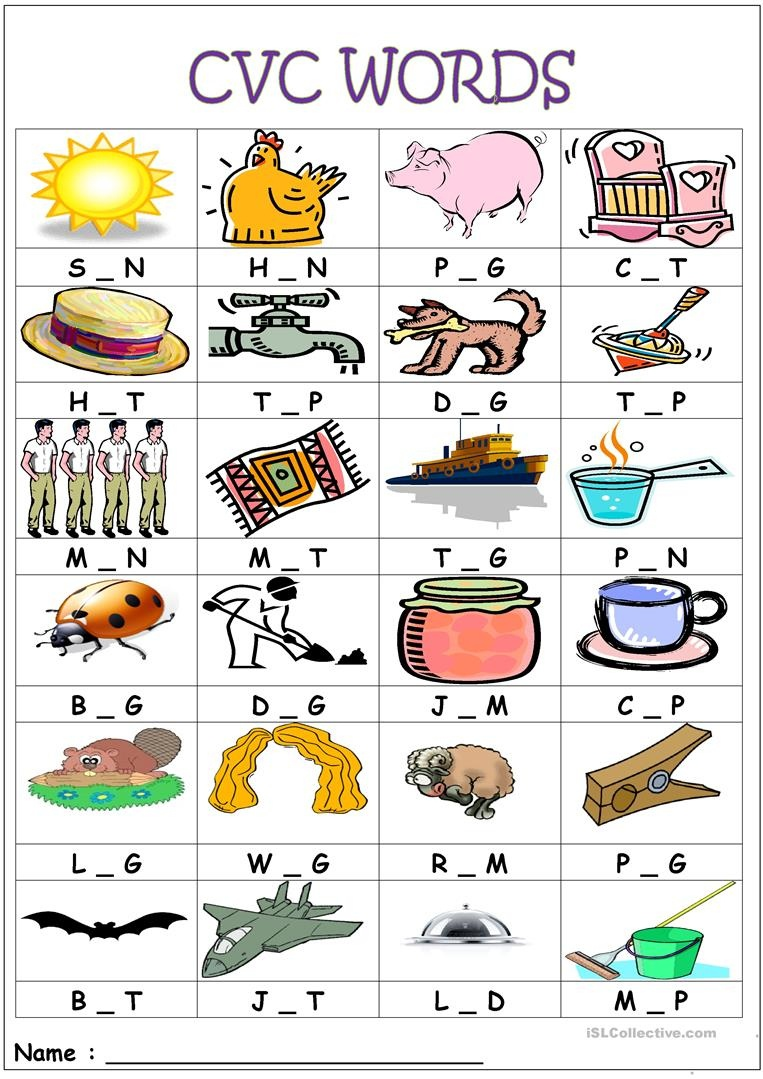 Cvc Words- Medial Sounds Worksheet - Free Esl Printable Worksheets - Free Printable Cvc Worksheets
