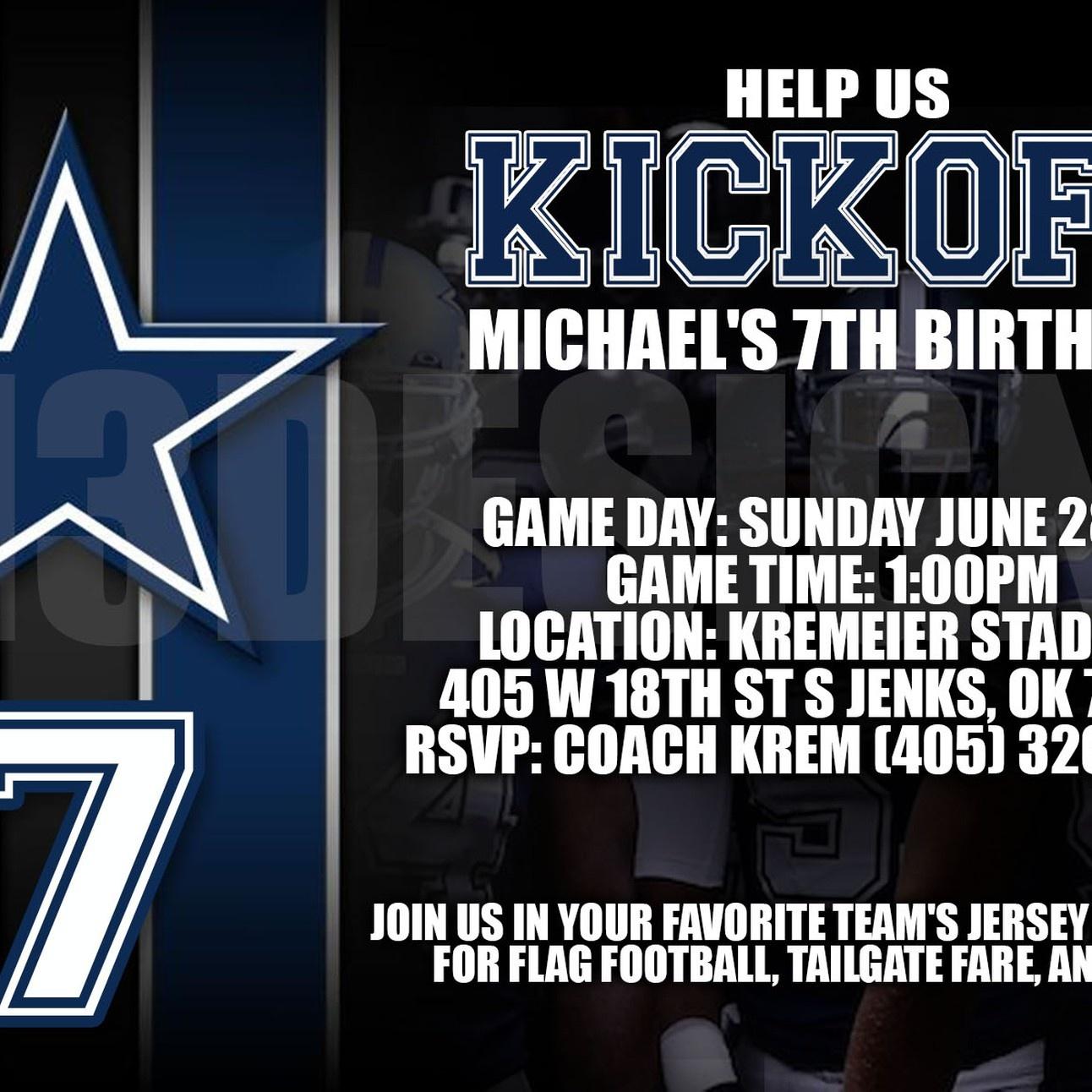 Dallas Cowboys Birthday Invitation - Free Printable Dallas Cowboys Birthday Invitations