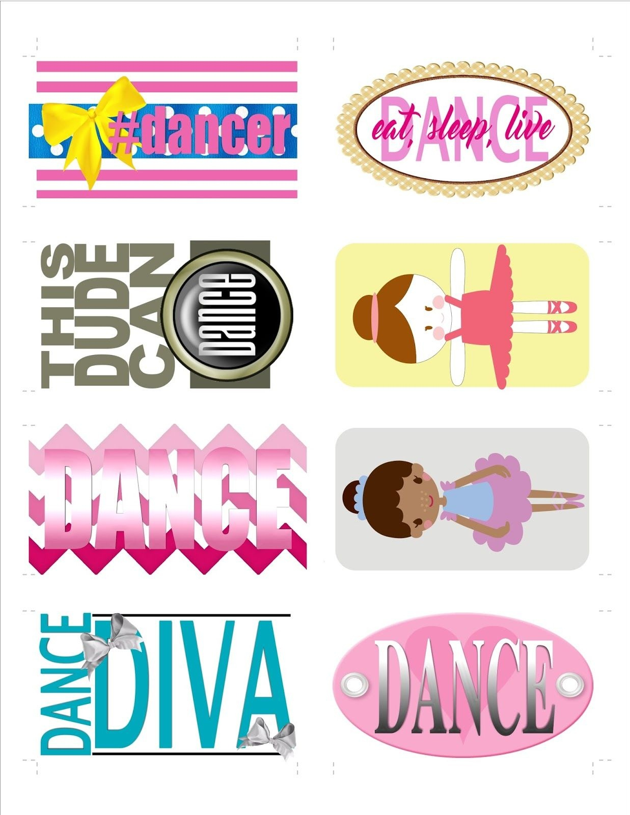 Dance Recital Gift Or Favor, Dance Themed Bag Tags..free Printable - Free Printable Dance Recital Cards
