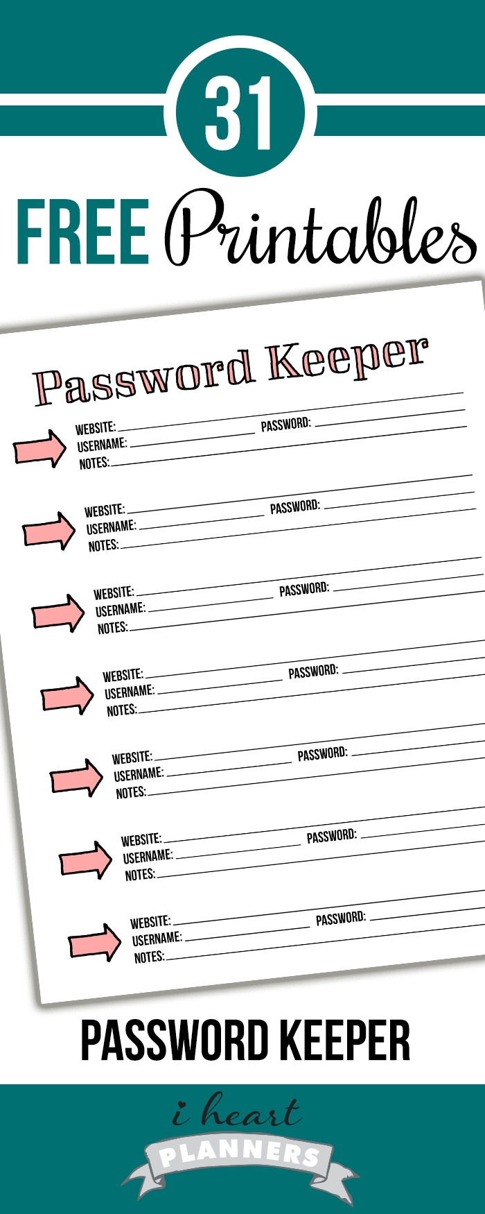 Day 6: Password Keeper - I Heart Planners - Free Printable Password Keeper