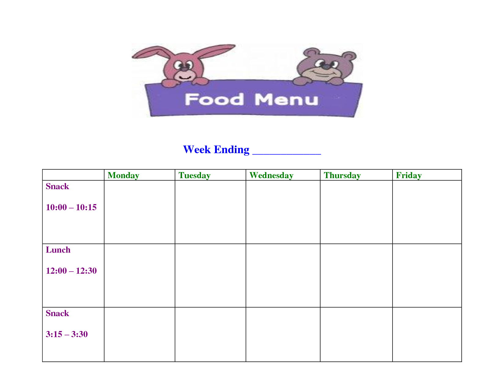 Day Care Blank Menu Template | Mo | Weekly Menu Template, School - Free Printable Daycare Menus