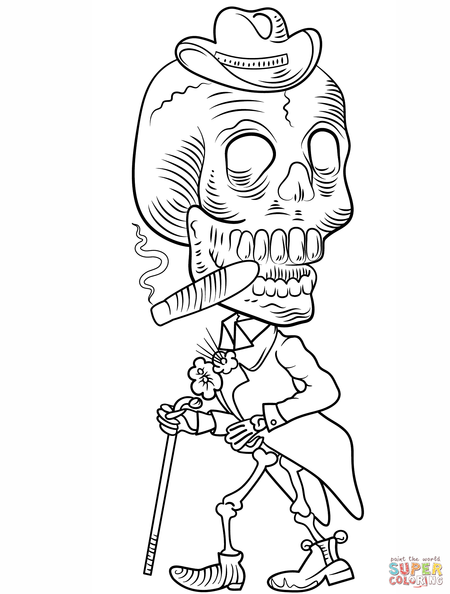 Day Of The Dead Skeleton Coloring Page | Free Printable Coloring Pages - Free Printable Skeleton Coloring Pages