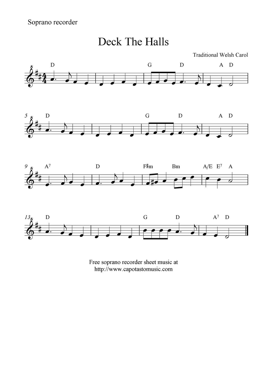 Deck The Halls -- Free Recorder Sheet Music | Music Class | Free - Free Printable Recorder Sheet Music For Beginners