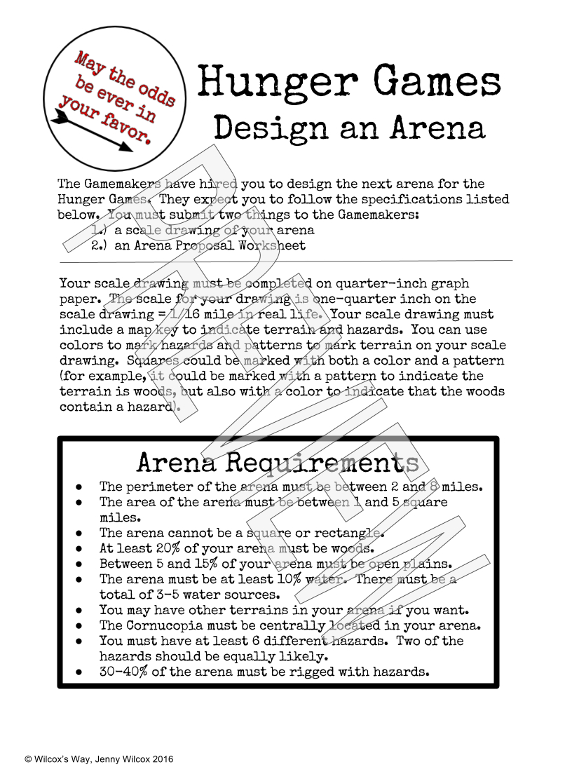 Design An Arena Math Scale Drawing Project | - Math Explorations - Hunger Games Free Printable Worksheets