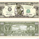 Details About (50) Traditional Million Dollar Bills   Fun Novelty   Free Printable Million Dollar Bill