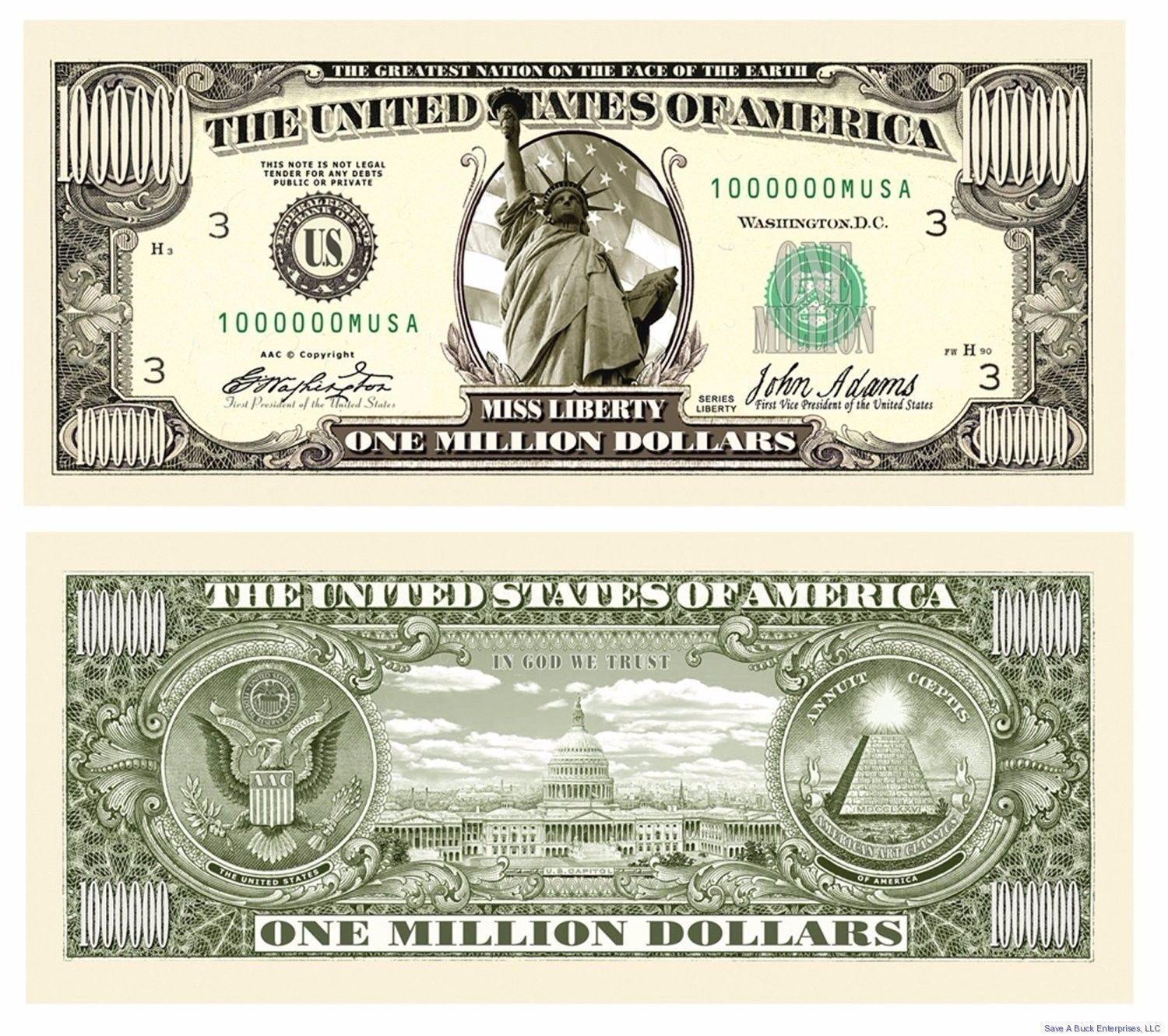 Details About (50) Traditional Million Dollar Bills - Fun Novelty - Free Printable Million Dollar Bill