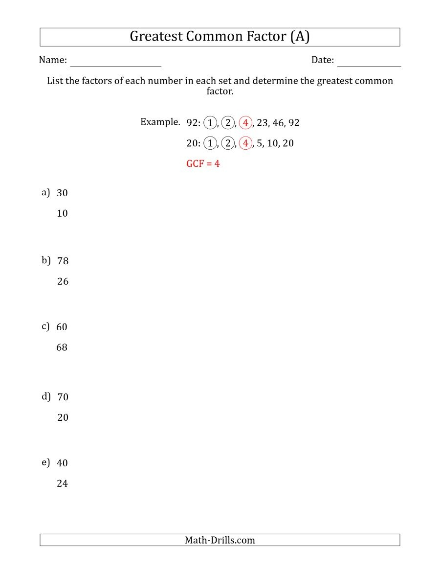 Determining Greatest Common Factors Of Sets Of Two Numbers From 4 To - Free Printable Lcm Worksheets