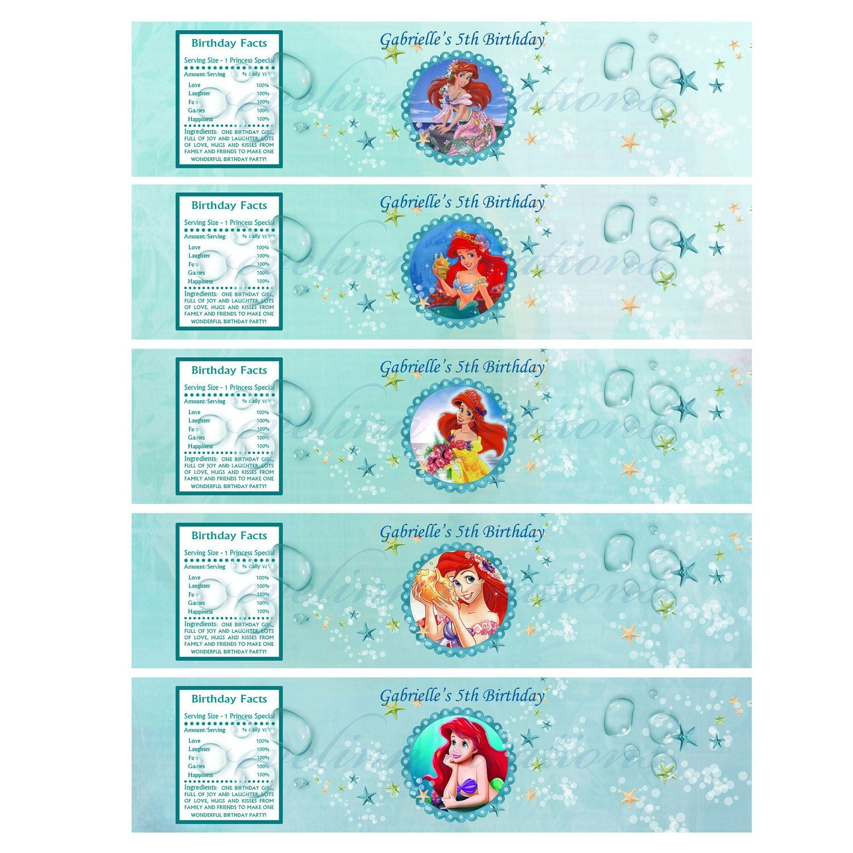 Disney Ariel The Little Mermaid Water Bottle Labels Printable - Free Printable Little Mermaid Water Bottle Labels