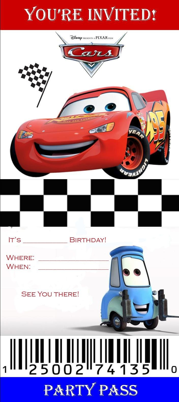 Disney Cars Birthday Invitations Templates | Kaiden's Bday | Cars - Free Printable Disney Cars Birthday Party Invitations