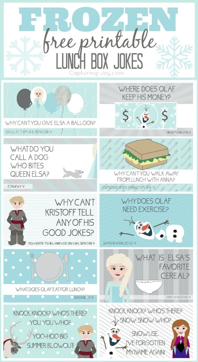 Disney Frozen Jokes | Bloggers' Fun Family Projects | Kids Lunch For - Free Printable Jokes For Adults