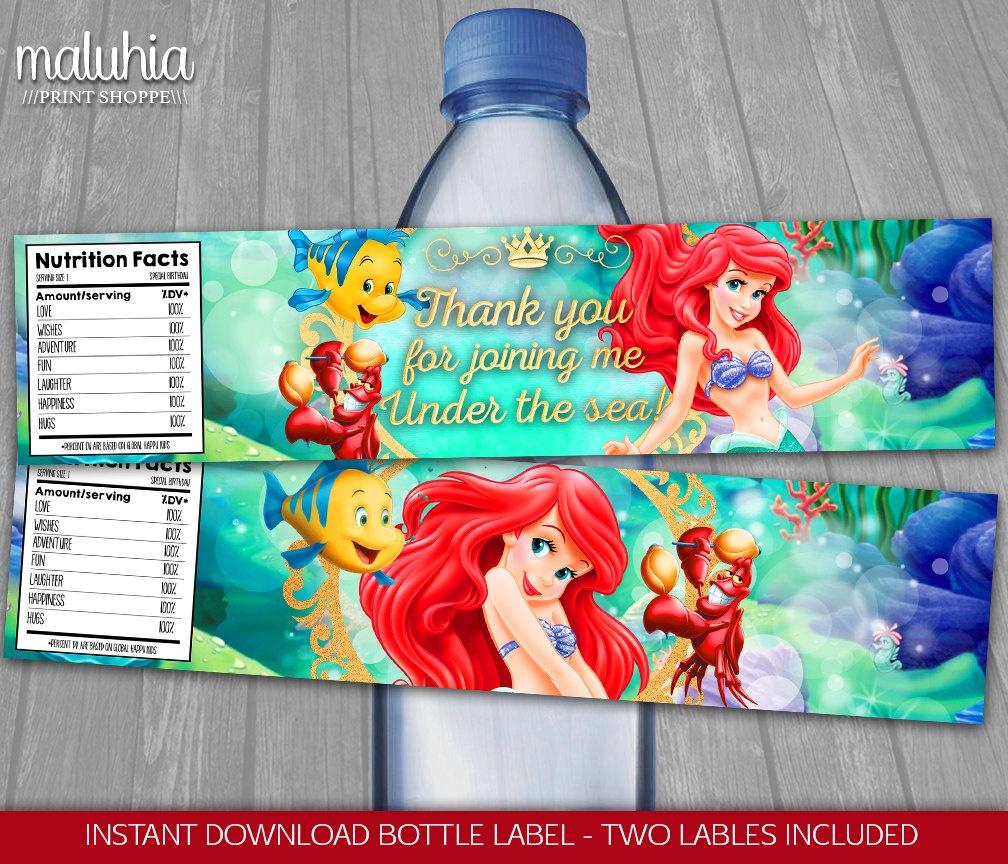 Disney Little Mermaid Water Bottle Label Instant Download | Etsy - Free Printable Little Mermaid Water Bottle Labels