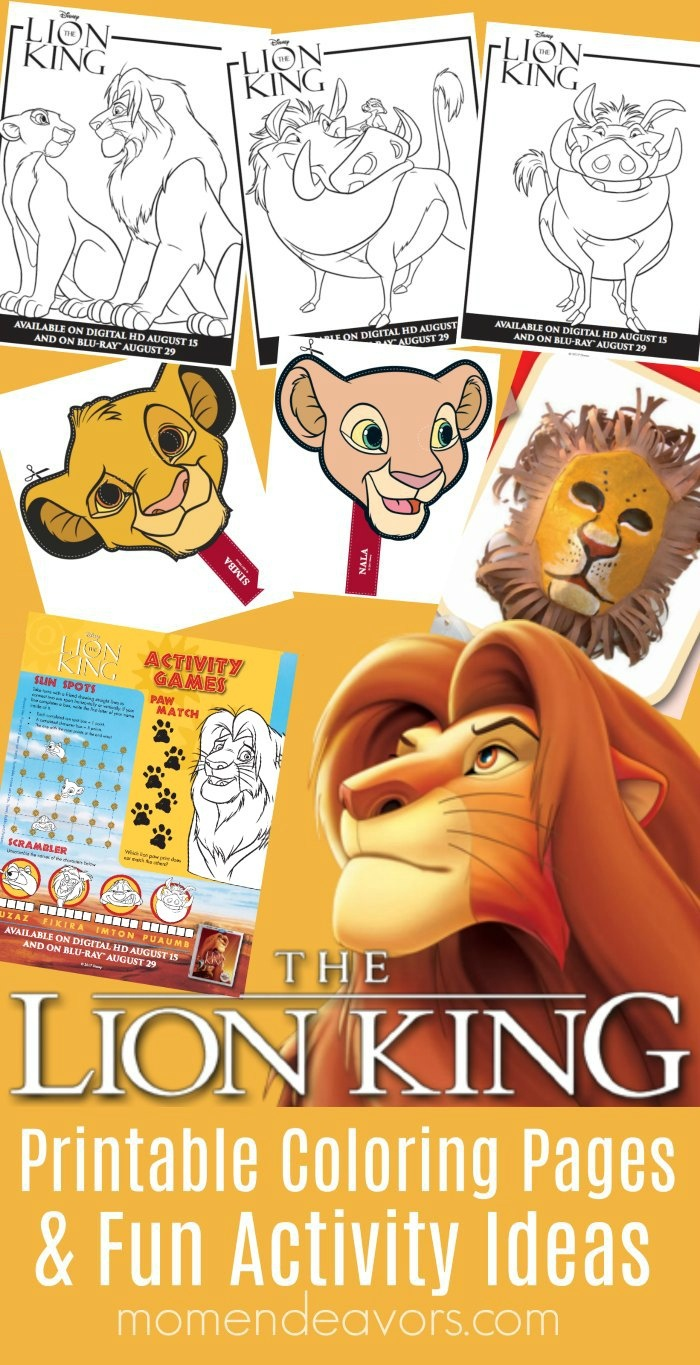 Disney's The Lion King Printable Coloring Pages & Activity Ideas - Free Printable Disney Stories