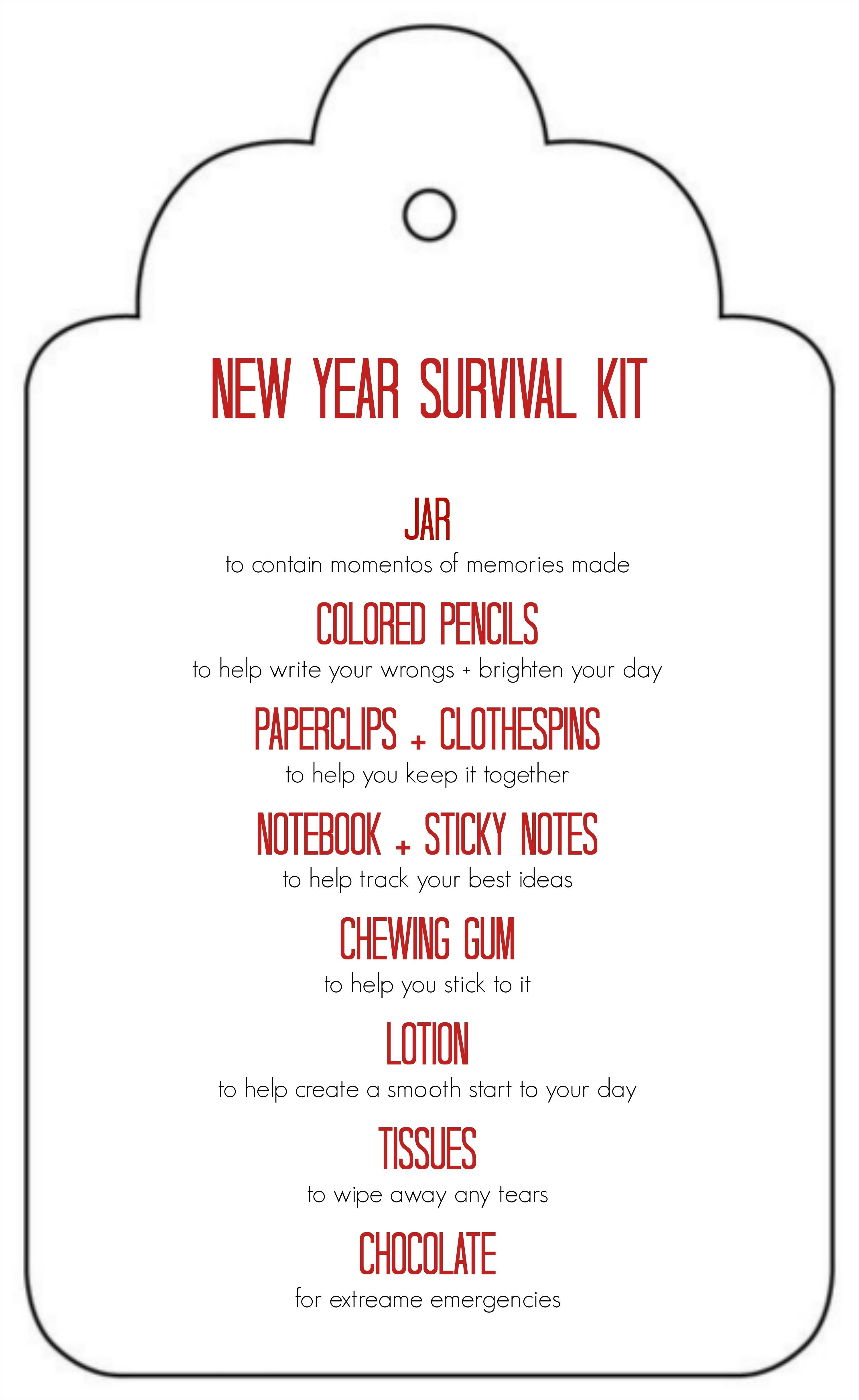 Diy New Years Survival Kit | Gifted | Survival Kit Gifts, Jar Gifts - Teacher Survival Kit Free Printable