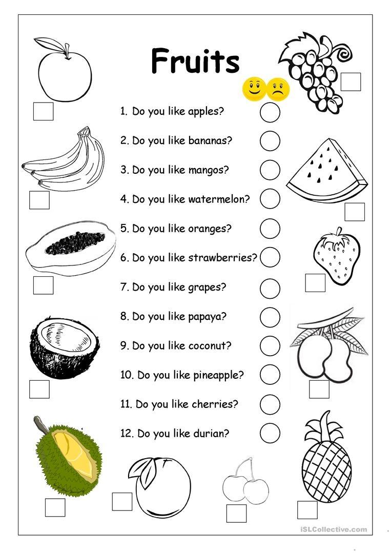 Do You Like Apples? - Fruits Worksheet Worksheet - Free Esl - Free Printable Esl Worksheets
