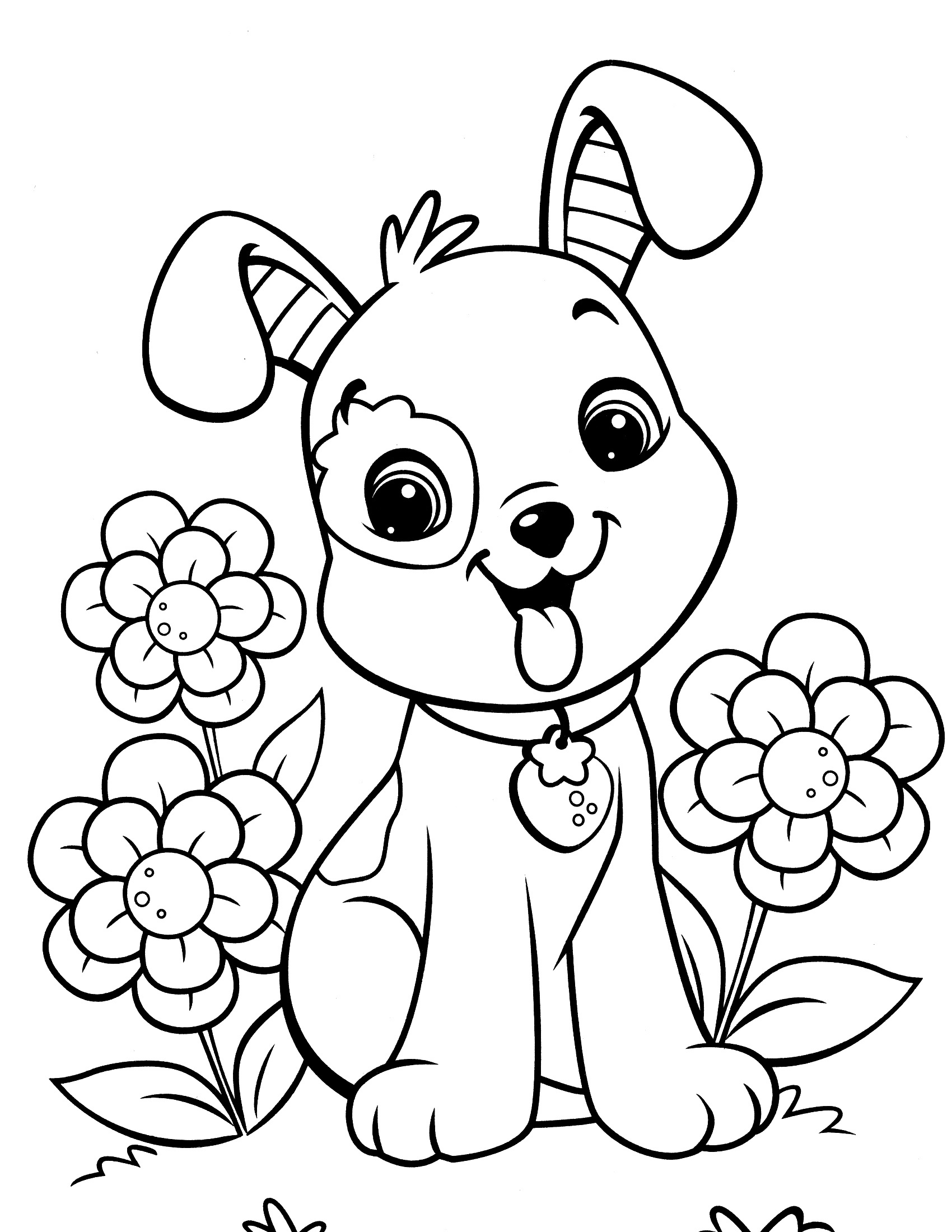 Dog Coloring Pages Easy - Free Printable Dog Coloring Pages