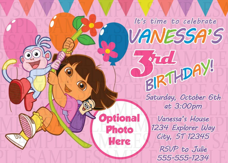 Dora The Explorer Birthday Invitation $11 | Kids Birthday - Dora Birthday Cards Free Printable