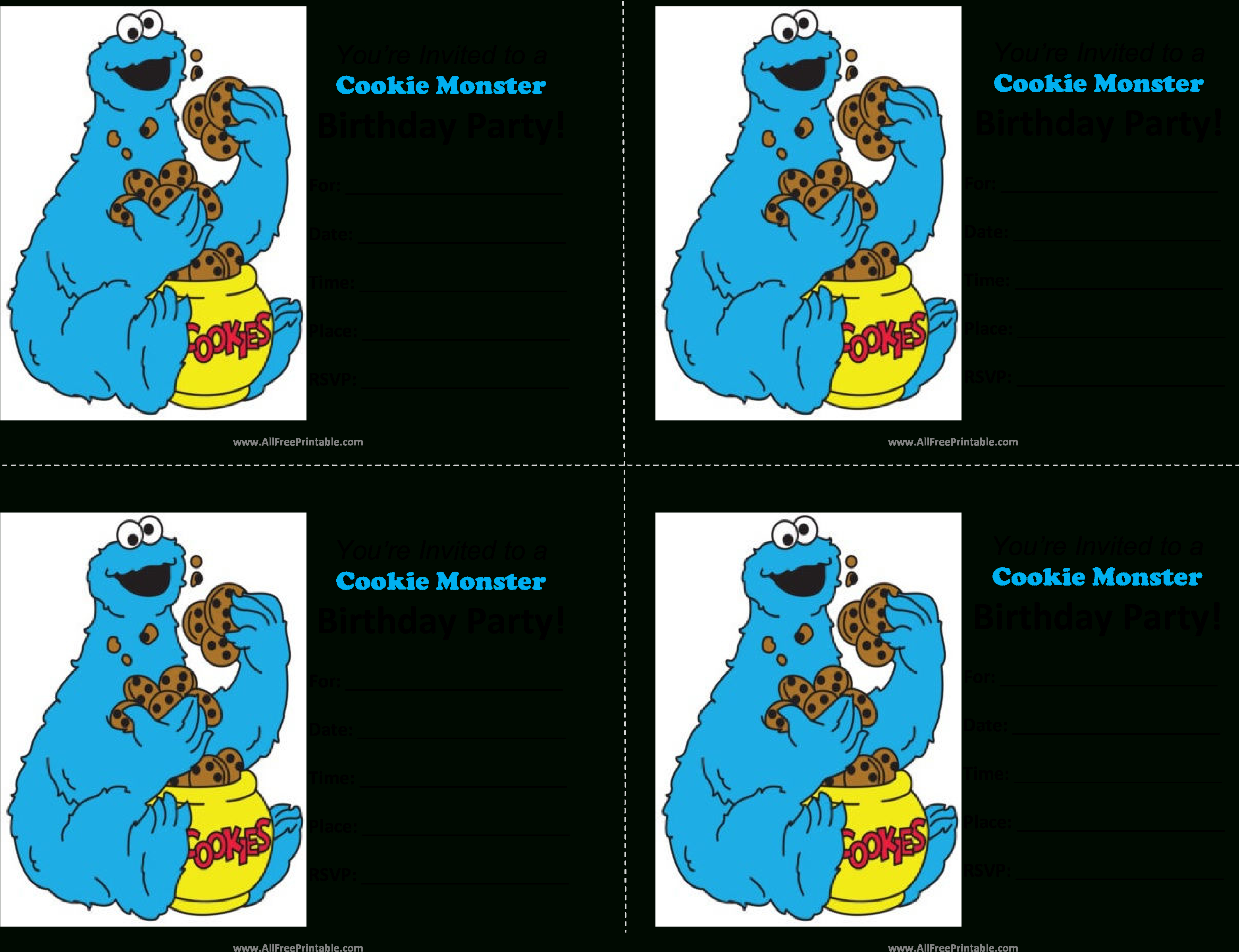 Download Cookie Monster Birthday Invitations Main Image - Blank - Free Printable Cookie Monster Birthday Invitations