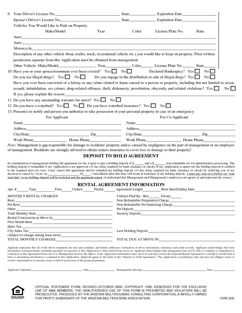 Download Free Arizona Rental Application Form - Printable Lease - Free Printable Rental Application Form