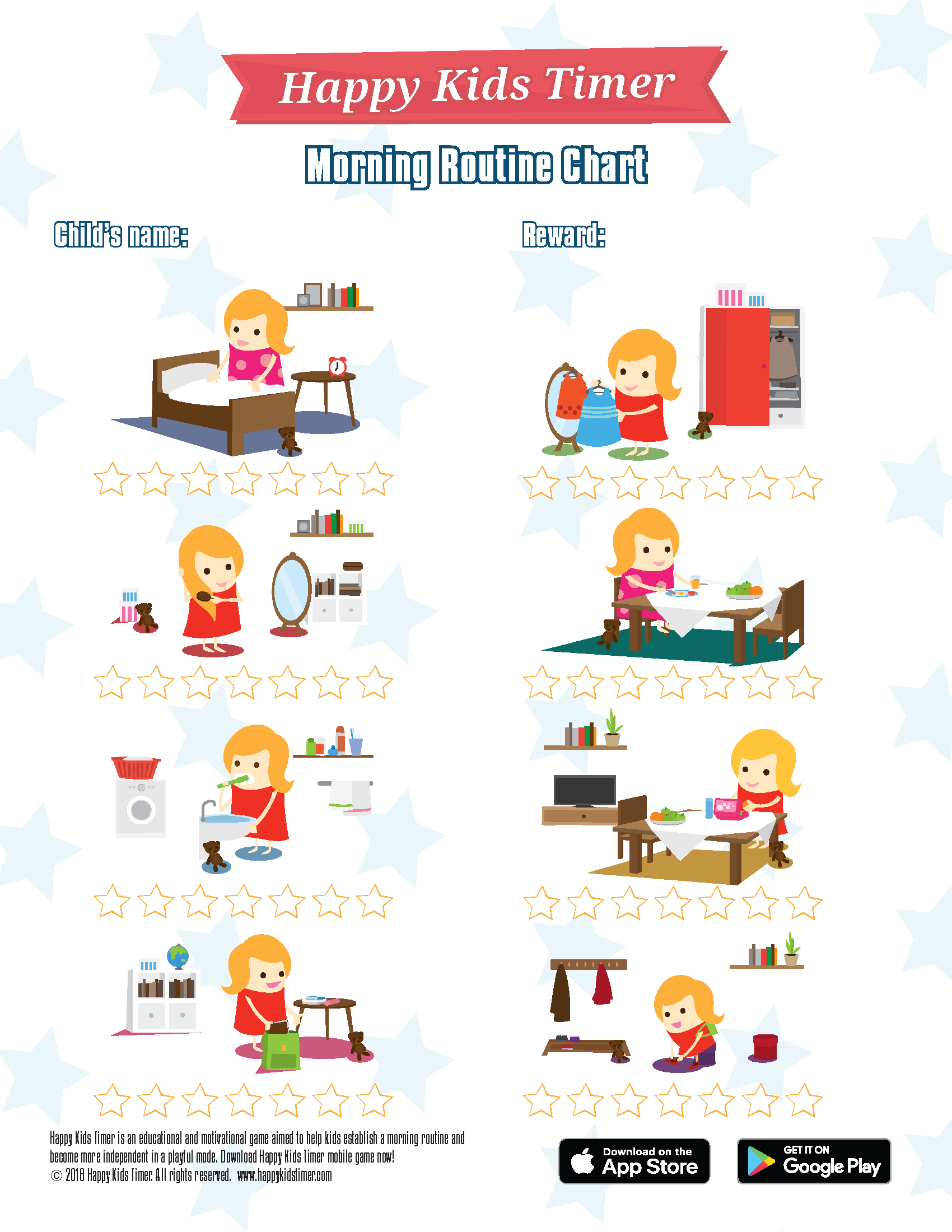 Download Free Printable Morning Routine Chart - Children's Routine Charts Free Printable