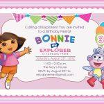 Download Free Template Dora The Explorer Birthday Party Invitations   Dora Birthday Cards Free Printable