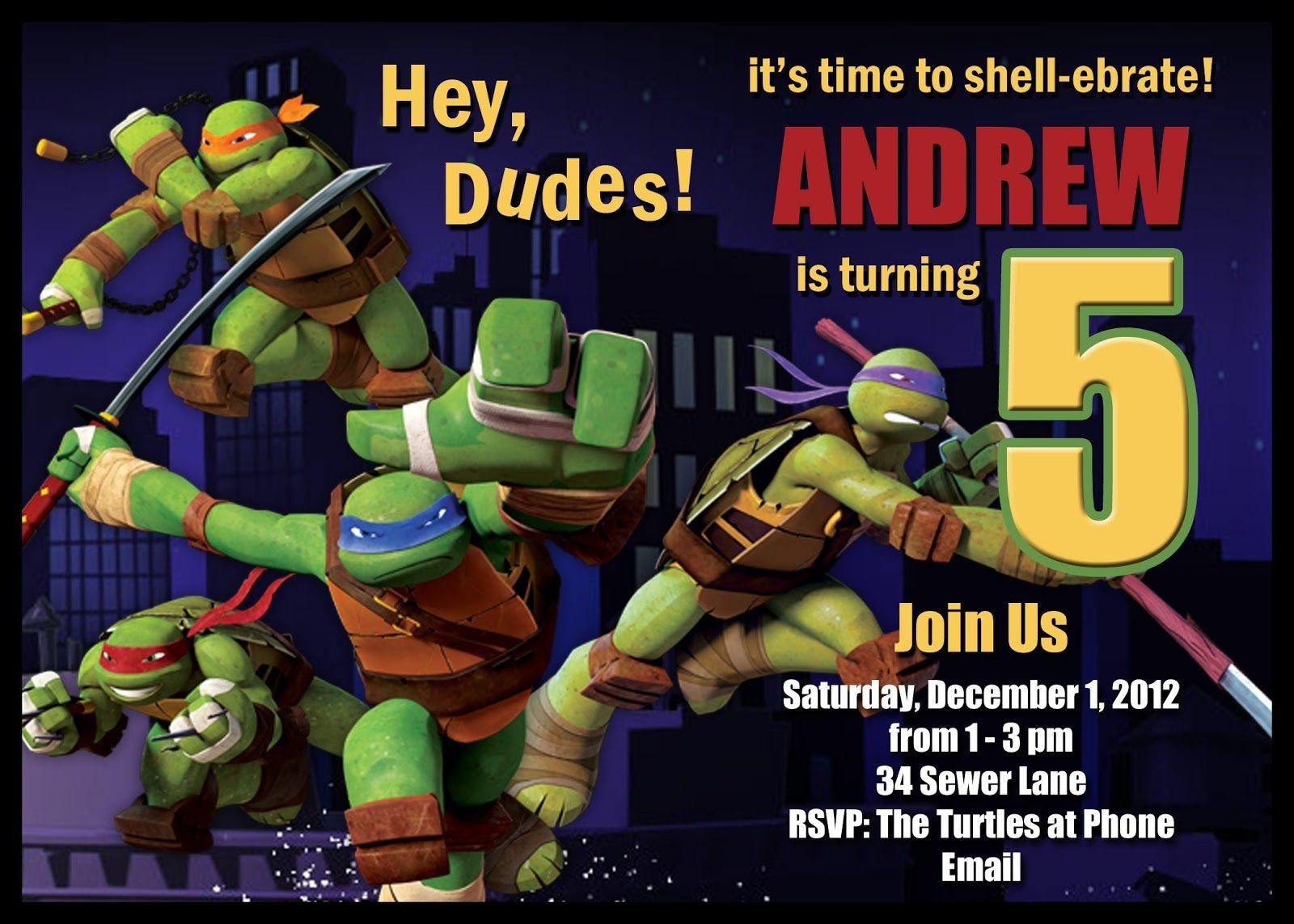 Download Free Template Teenage Mutant Ninja Turtle Birthday Party - Free Printable Tmnt Birthday Party Invitations