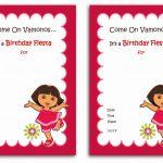 Download Now Free 1St Dora Birthday Invitations Wording | Bagvania   Dora Birthday Cards Free Printable
