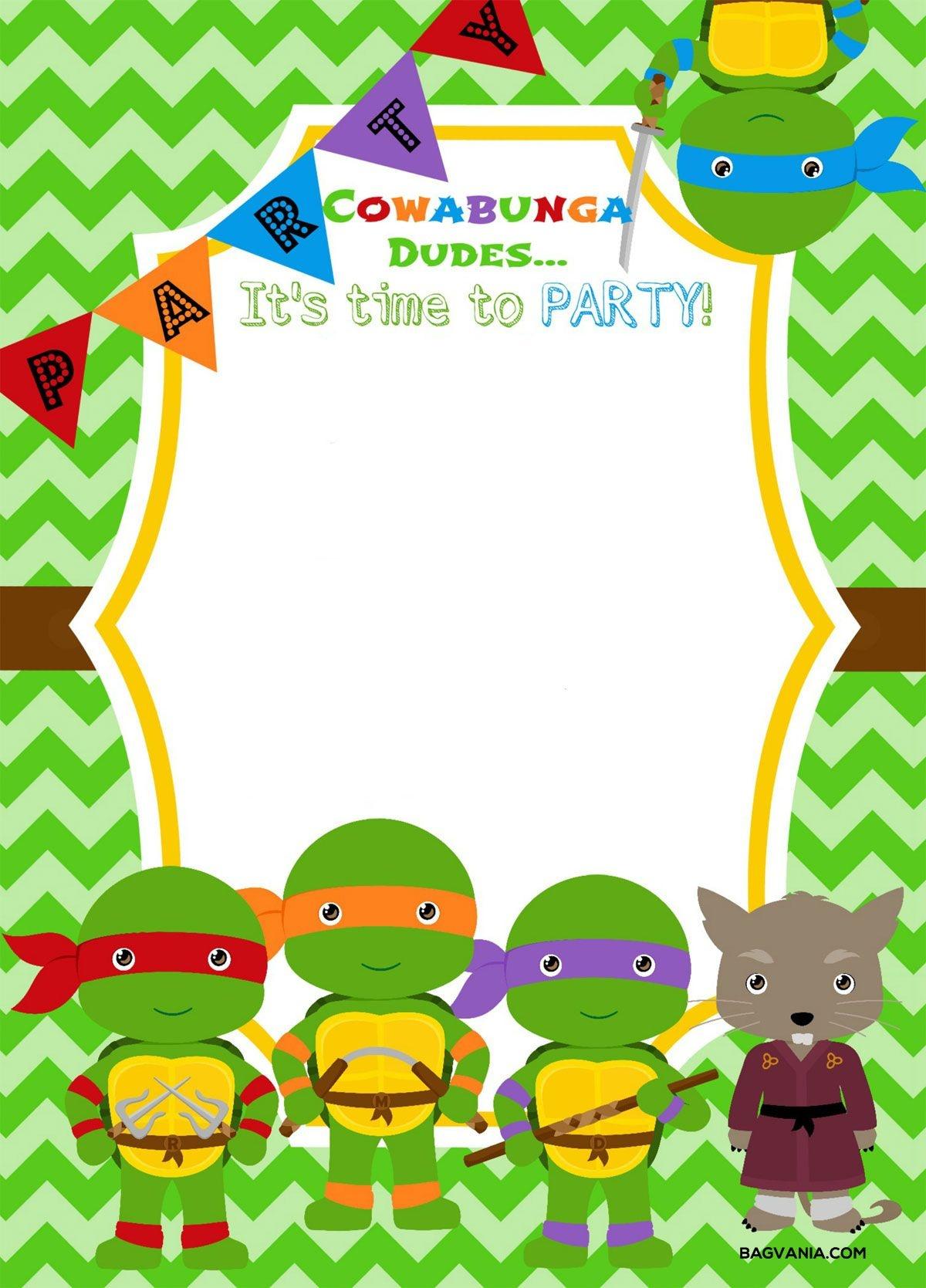 Download Now Free Printable Ninja Turtle Birthday Party Invitations - Free Printable Ninja Turtle Birthday Banner