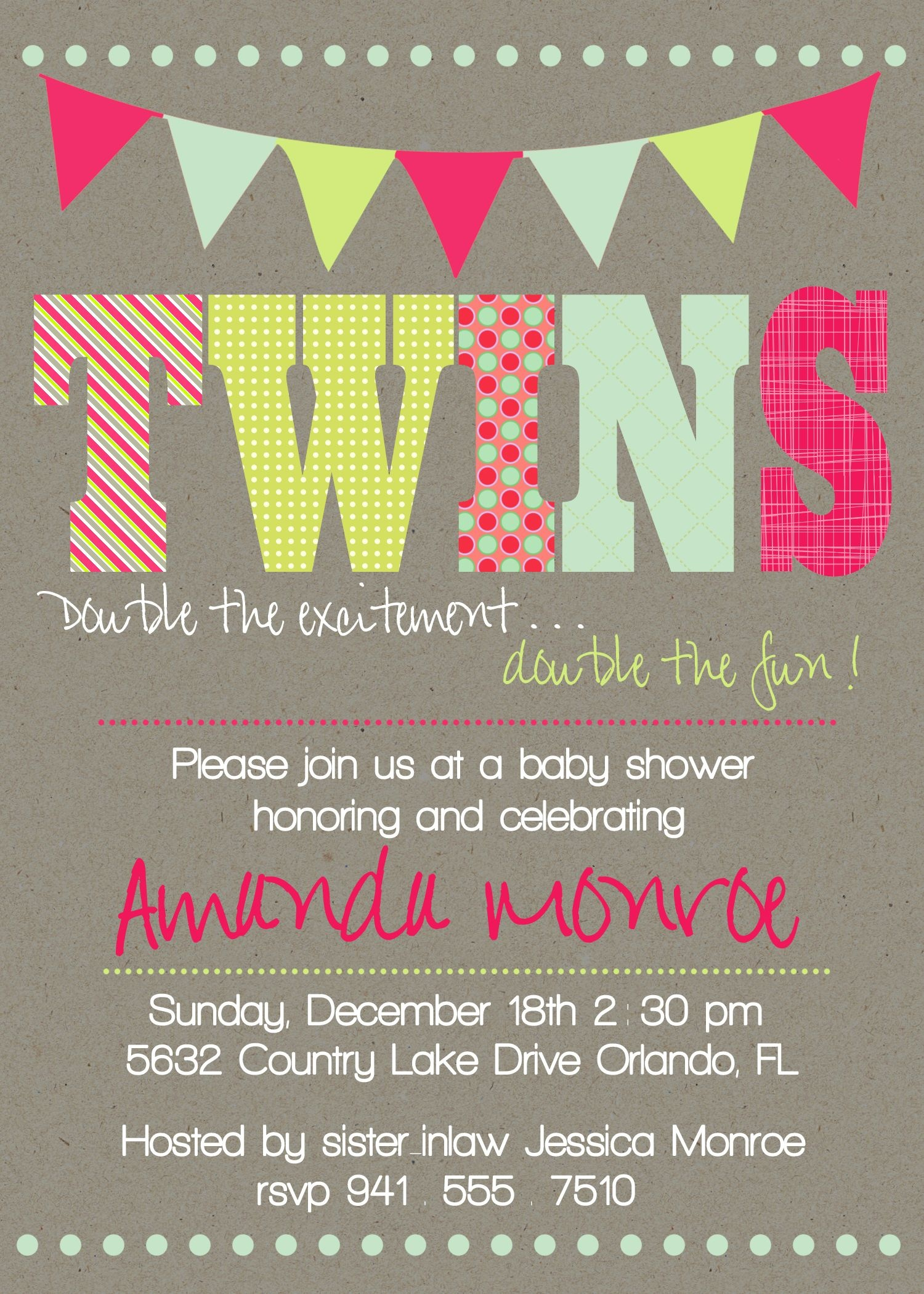 Download Now Free Template Twin Baby Girl Shower Invitations - Free Printable Twin Baby Shower Invitations