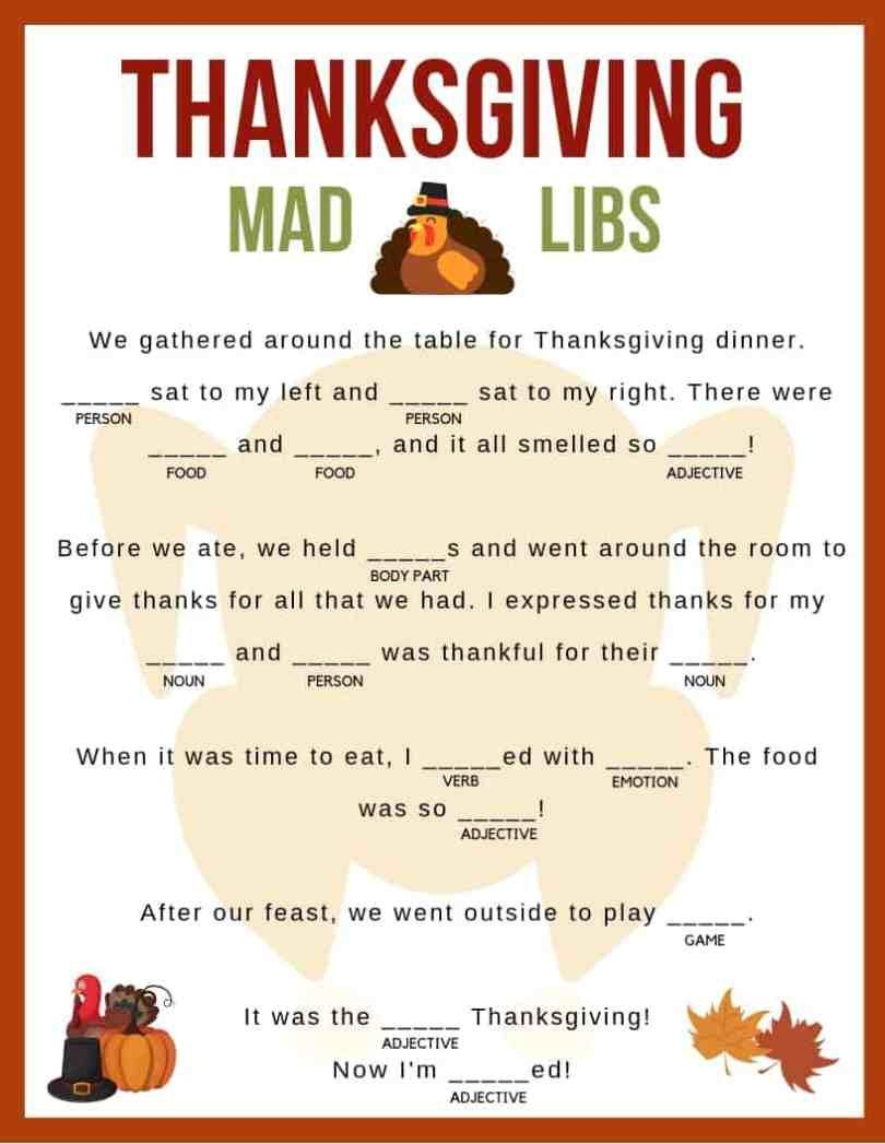 Download Your Free Printable Thanksgiving Mad Libs! Kids And Adults - Free Printable Thanksgiving Mad Libs