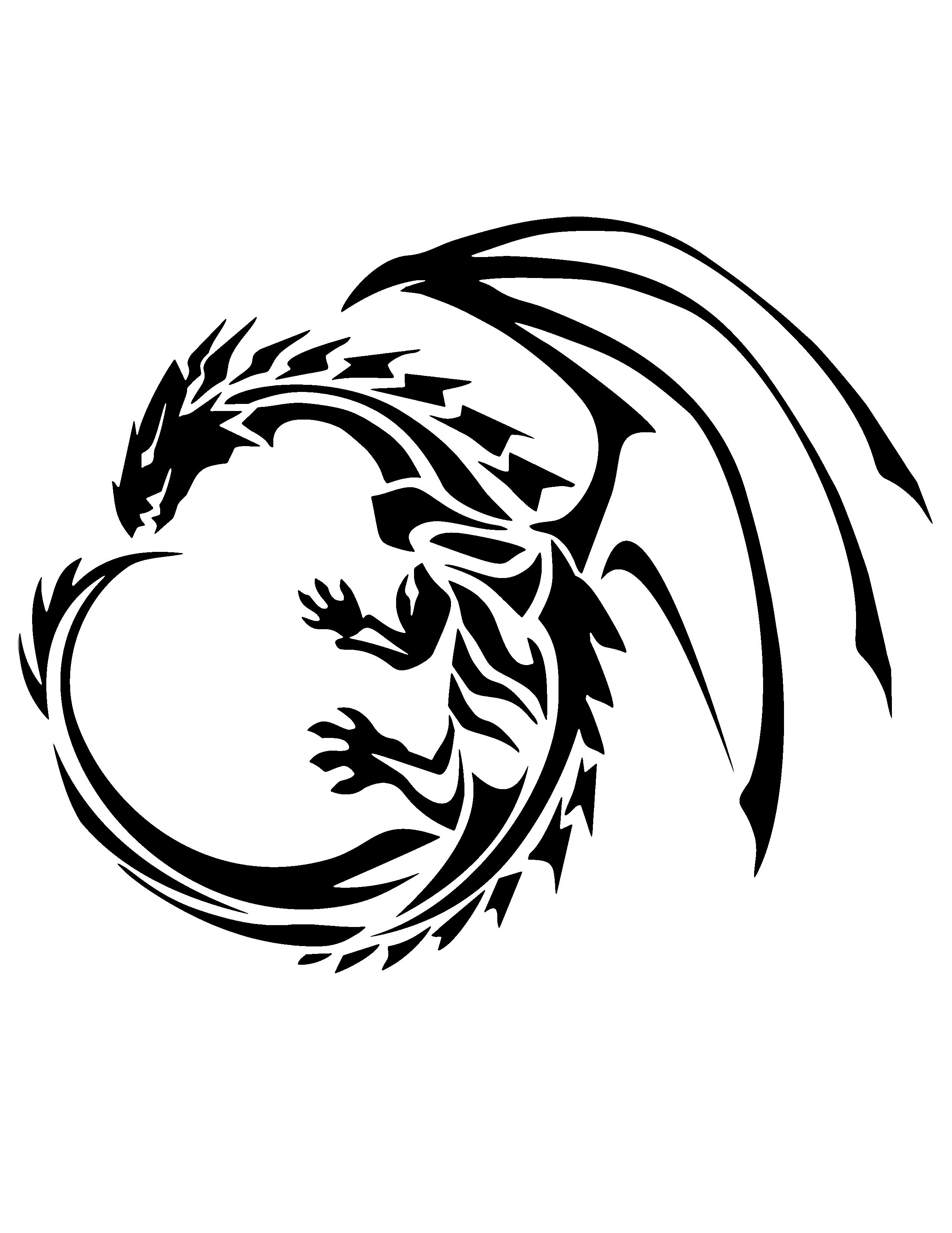 Dragon Stencil | Stencils | Tribal Dragon Tattoos, Tribal Tattoos - Free Printable Dragon Stencils