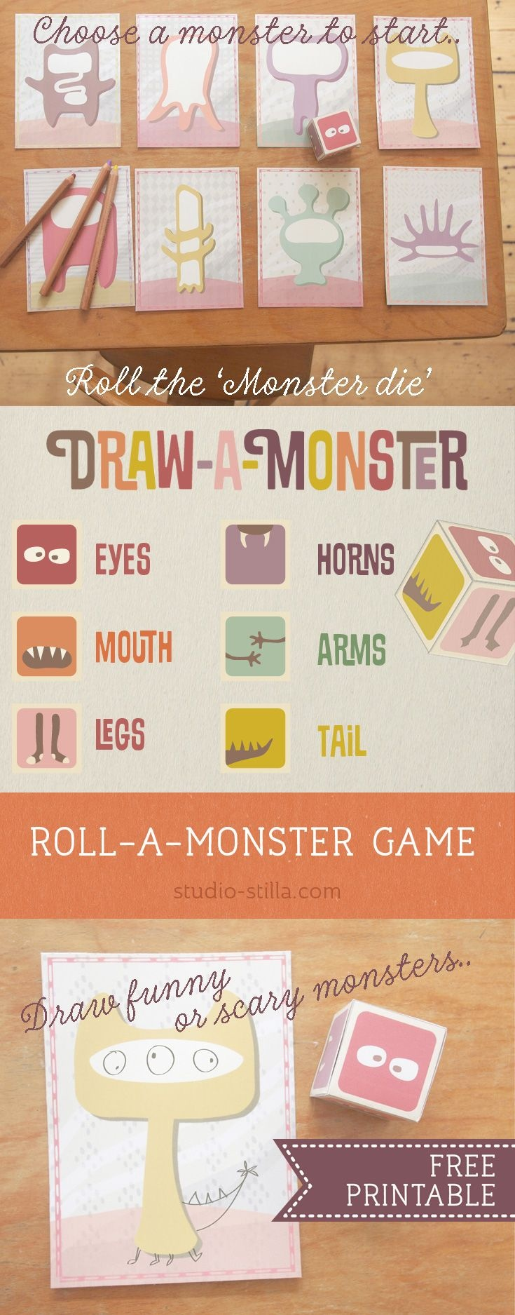 Draw-A-Monster Game For Kids [Free Printable] | Theme: Monsters - Roll A Monster Free Printable