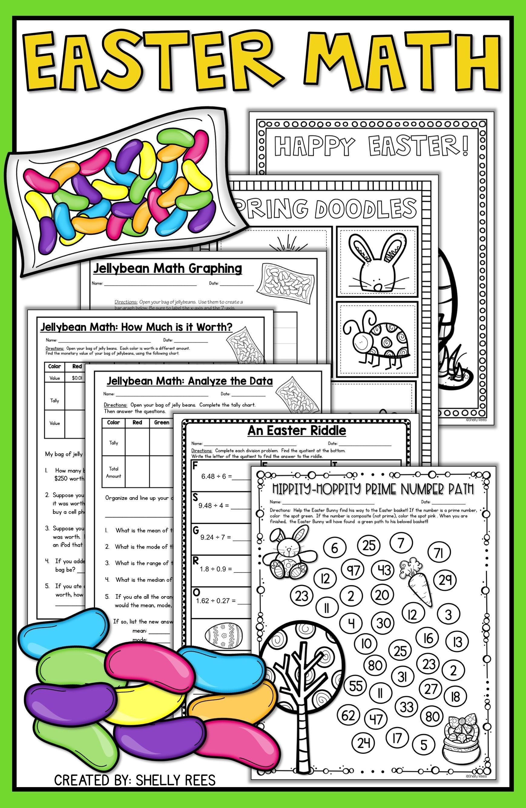 Easter Math Worksheets - Jellybean Math - Easter Activities | Big - Free Printable Easter Worksheets For 3Rd Grade