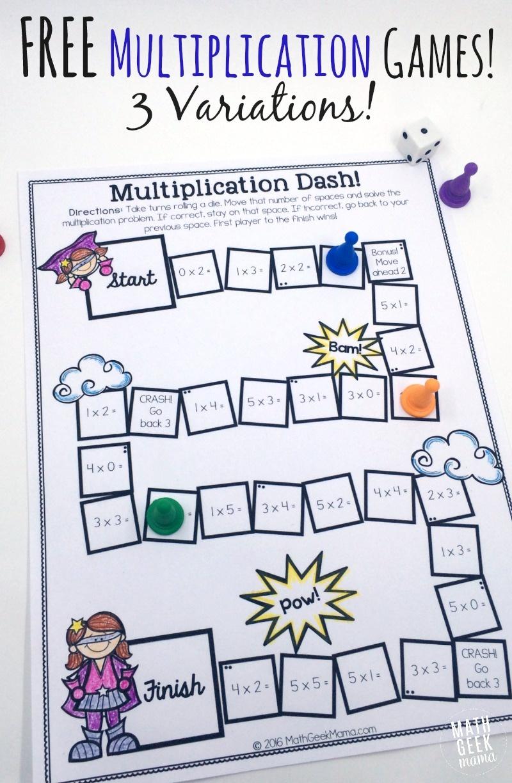 Easy, Low Prep Printable Multiplication Games! {Free} - Free Printable Maths Games