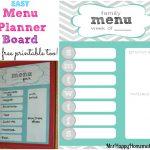 Easy Menu Planner Board - With A Free Printable! - Mrs Happy Homemaker - Free Printable Menu