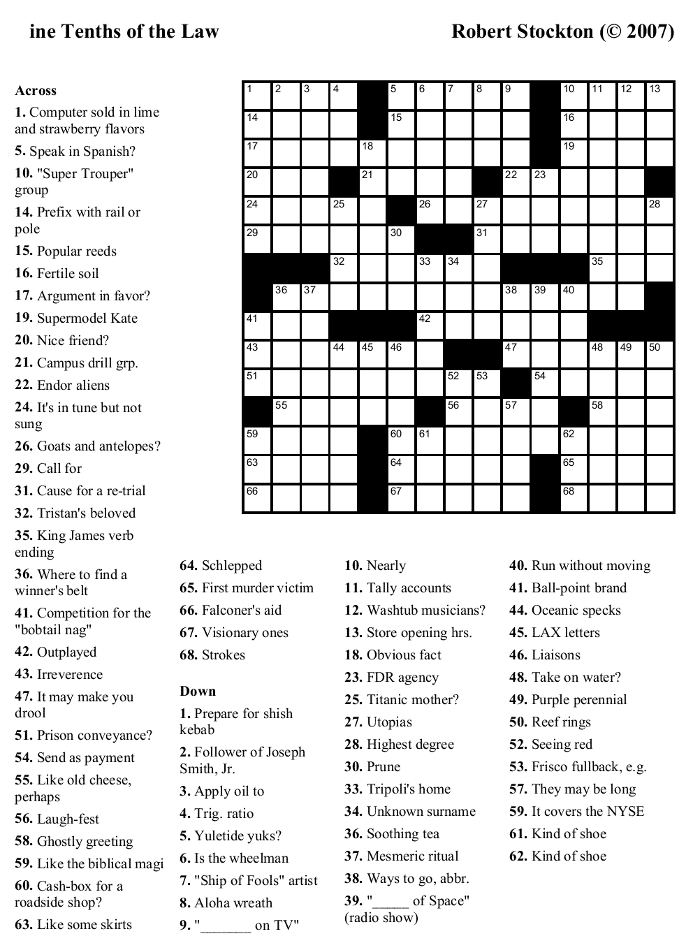 Easy Printable Crossword Puzzels - Infocap Ltd. - Free Daily Printable Crosswords