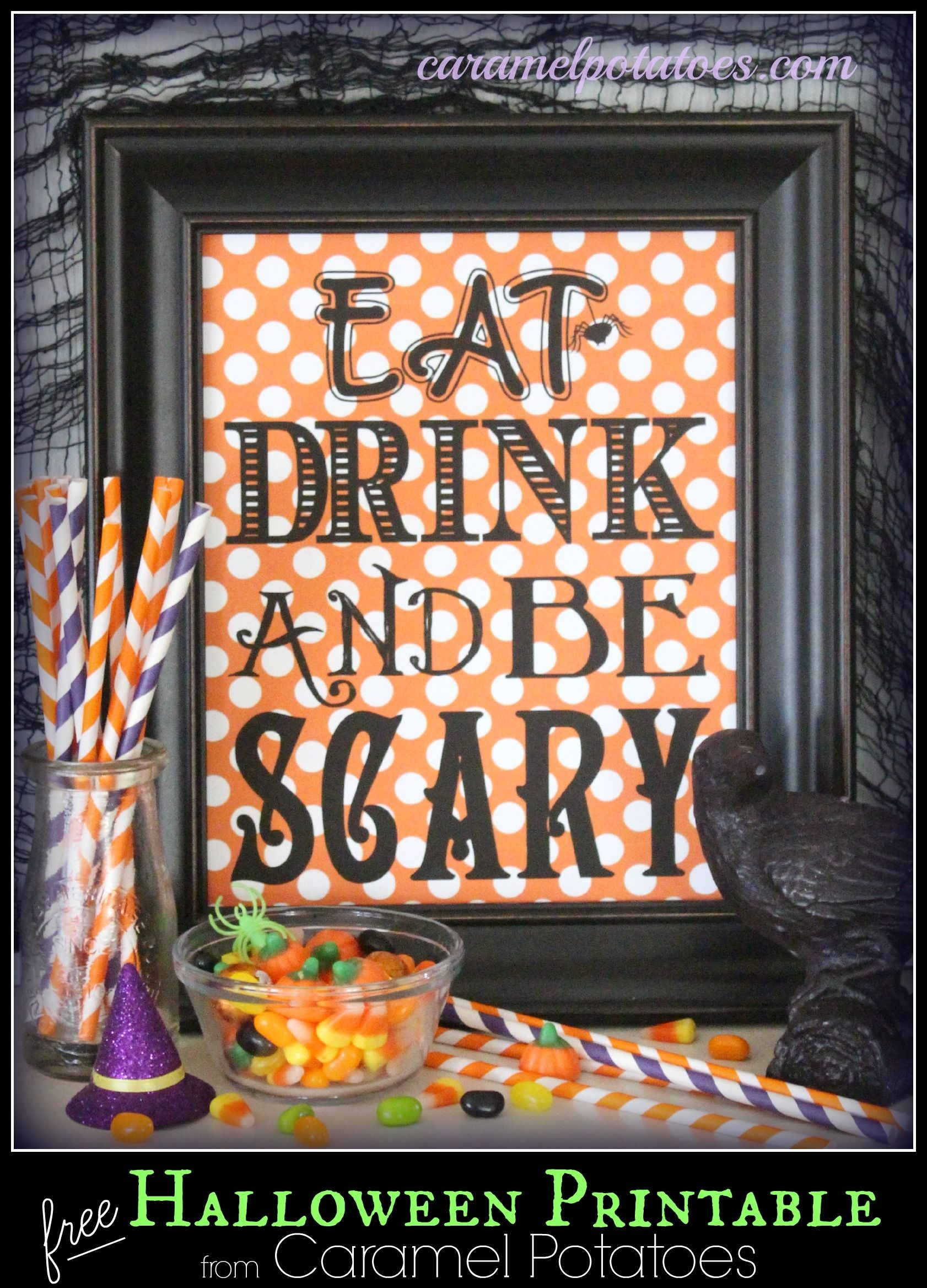 Eat Drink And Be Scary {Free Printable} | Halloween | Halloween - Free Printable Halloween Decorations Scary