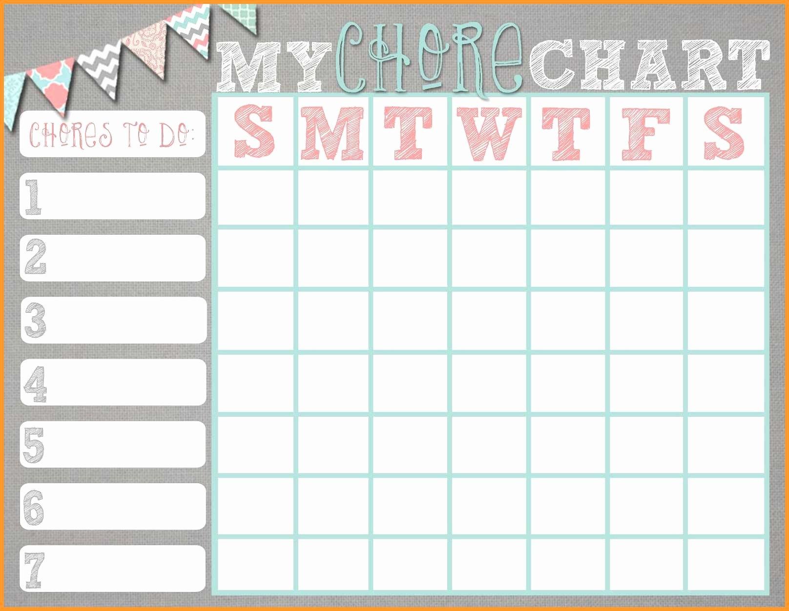 Editable Chore Chart Template Luxury 10 11 Free Editable Printable - Free Editable Printable Chore Charts