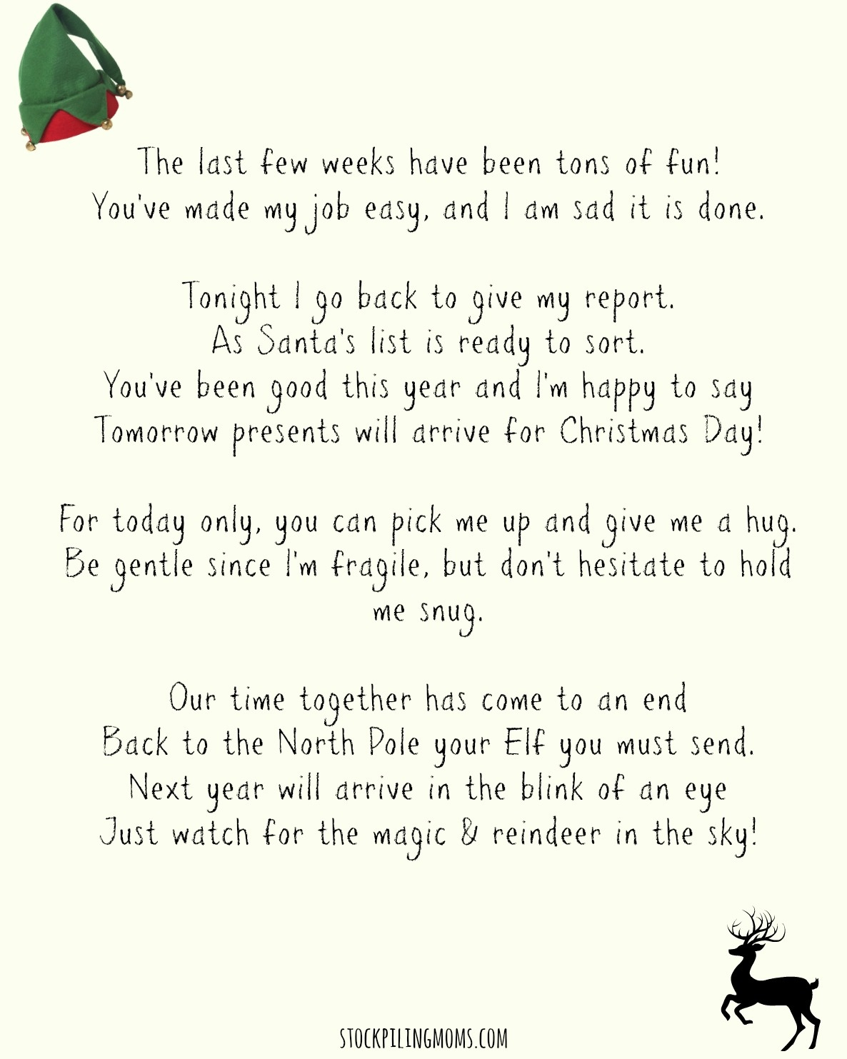 Elf On A Shelf Goodbye Letter Printable - Elf On A Shelf Goodbye Letter Free Printable
