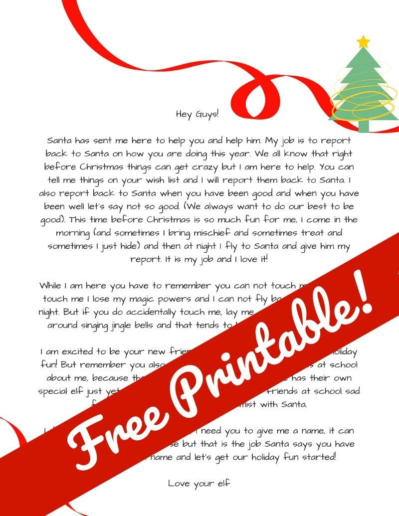 Elf On The Shelf Arrival Letter. Free Elf On The Shelf Printable - Free Printable Elf On Shelf Arrival Letter